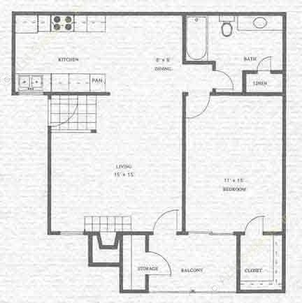 718 sq. ft. Brazos floor plan