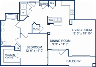 1,025 sq. ft. Munich floor plan