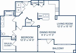 1,025 sq. ft. Munich floor plan