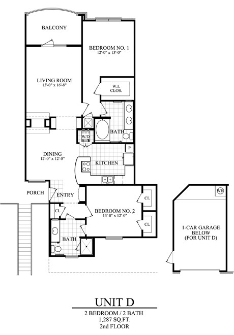 1,287 sq. ft. D floor plan