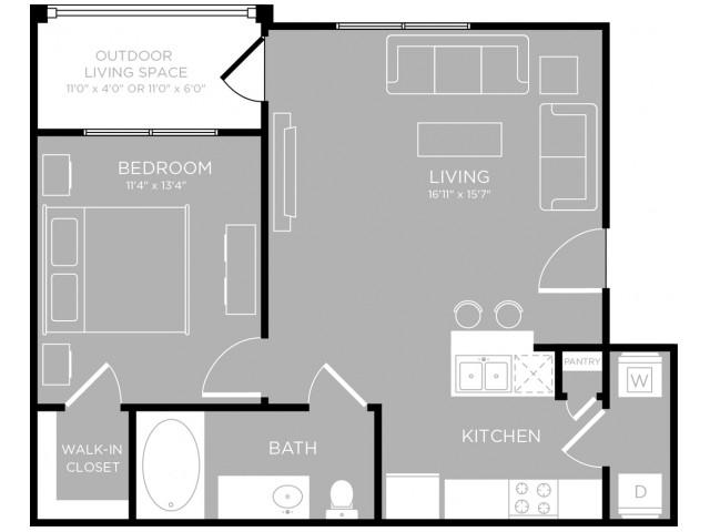 652 sq. ft. Waterloo A1 floor plan