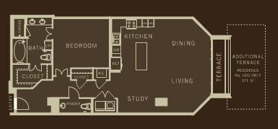 1,108 sq. ft. A7 floor plan