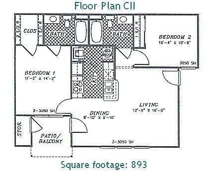 893 sq. ft. PHASE II floor plan
