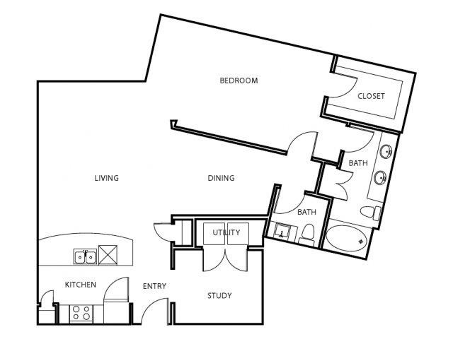 1,013 sq. ft. A6-E floor plan