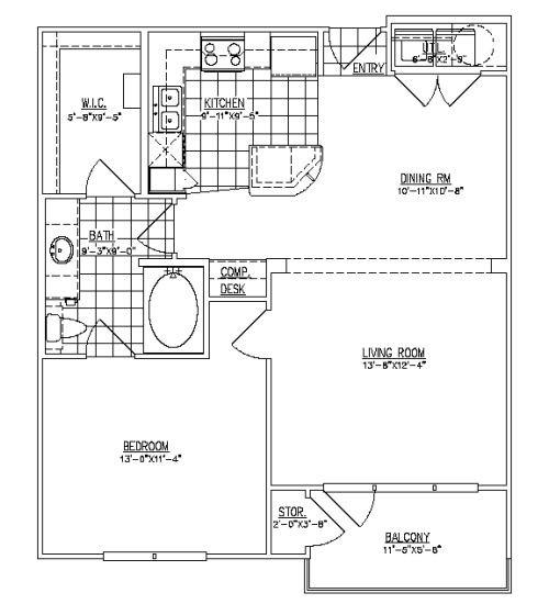 805 sq. ft. Havard II floor plan