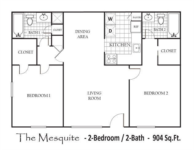 904 sq. ft. 80% floor plan