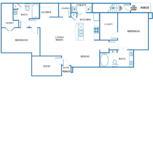 1,242 sq. ft. D2/UP floor plan