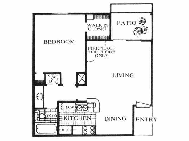 622 sq. ft. A3 floor plan
