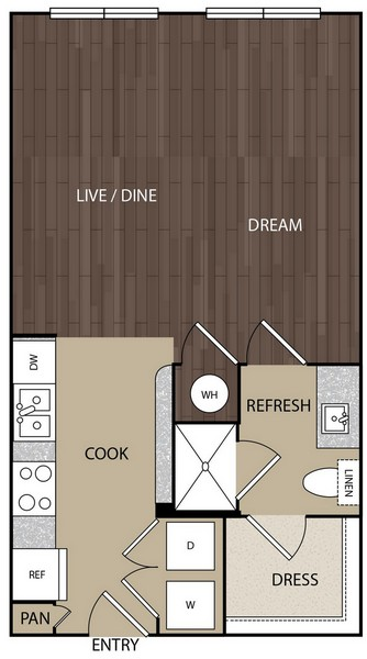 570 sq. ft. S2 floor plan