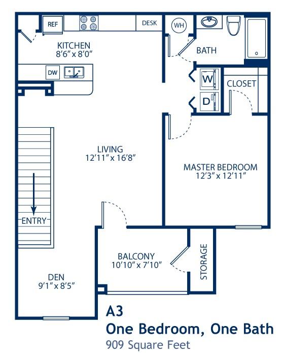 909 sq. ft. A3 floor plan