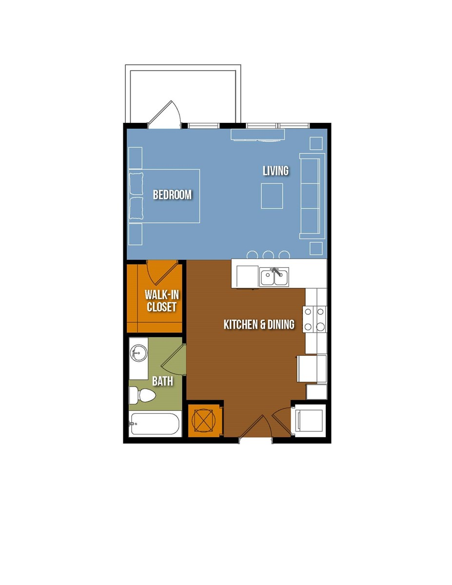 585 sq. ft. Mary Bonner floor plan