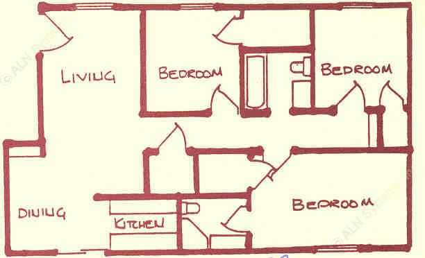 1,285 sq. ft. floor plan