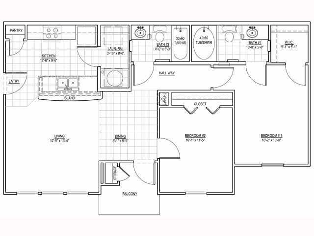 950 sq. ft. Ridgecrest/60 floor plan
