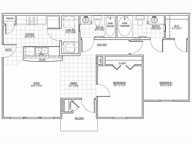950 sq. ft. Ridgecrest/60% floor plan