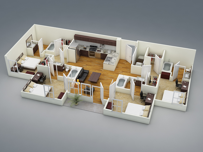 1,336 sq. ft. D1 floor plan