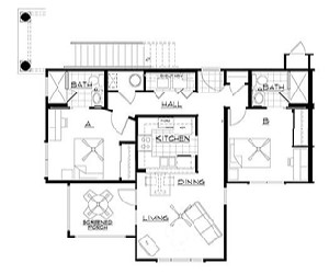 942 sq. ft. floor plan