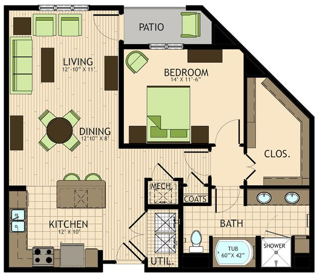 960 sq. ft. Rosetti floor plan