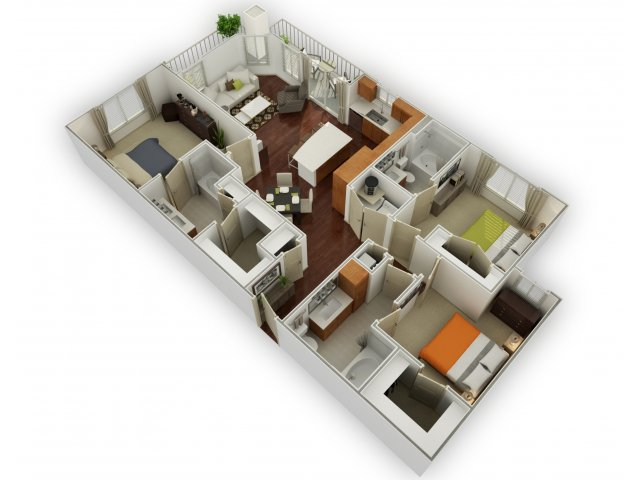 1,450 sq. ft. C1 floor plan