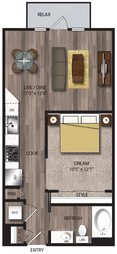 636 sq. ft. A14.1 floor plan