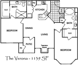 1,075 sq. ft. Verona floor plan