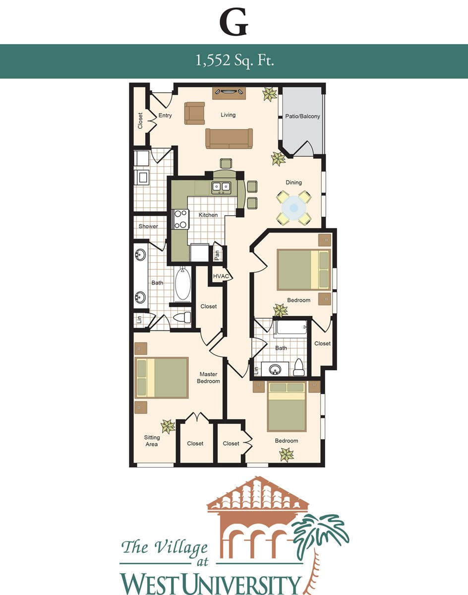 1,552 sq. ft. G floor plan