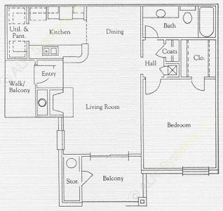 711 sq. ft. St Thomas floor plan