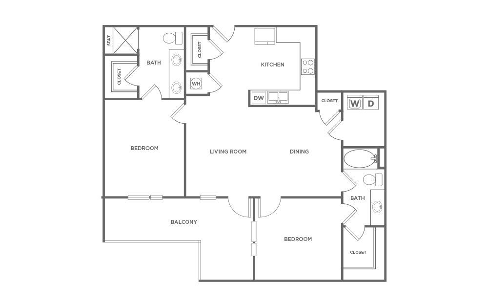 1,169 sq. ft. C1 floor plan