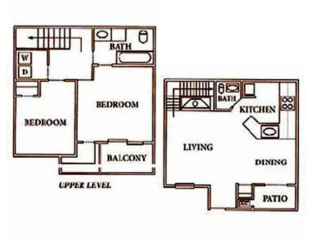 1,000 sq. ft. BTH3 floor plan