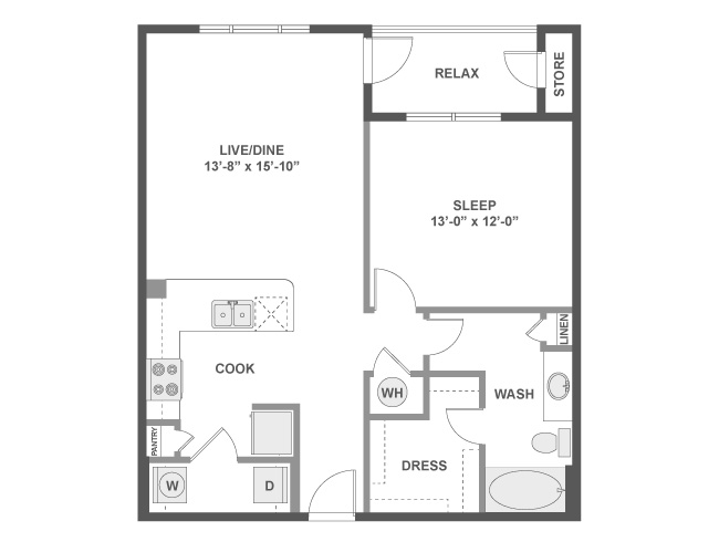 795 sq. ft. A3c floor plan