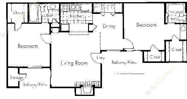 920 sq. ft. B3 floor plan