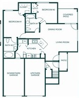 884 sq. ft. 60% floor plan