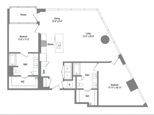 1,530 sq. ft. B9B floor plan