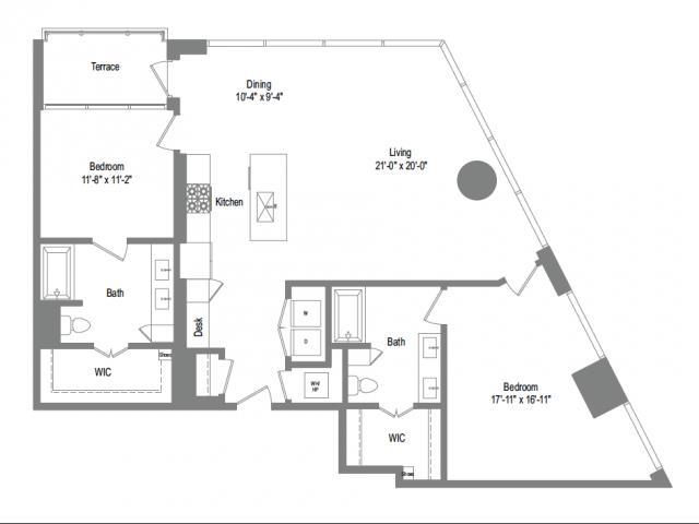 1,530 sq. ft. B9B floor plan