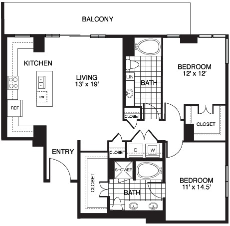 1,329 sq. ft. B8A/TOWER floor plan