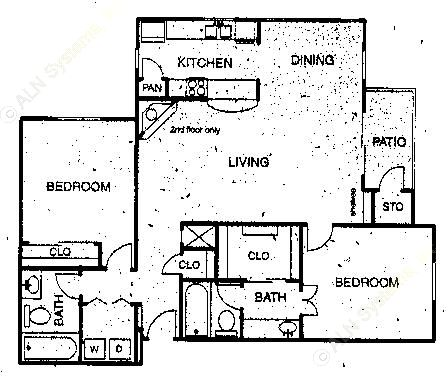 1,106 sq. ft. B4 floor plan