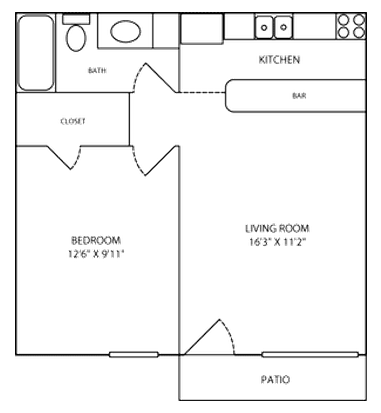 516 sq. ft. FLAT floor plan