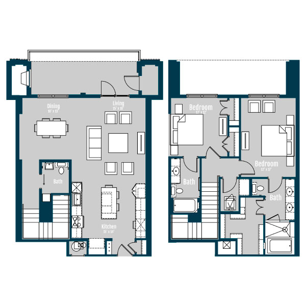 1,691 sq. ft. TH 1 floor plan