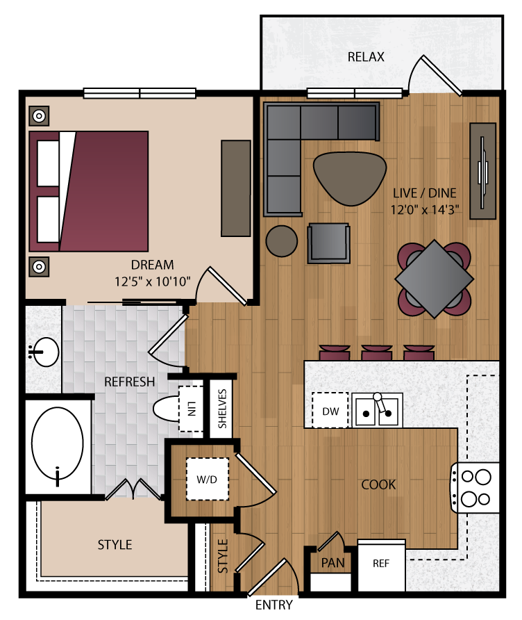 729 sq. ft. P-A8 floor plan