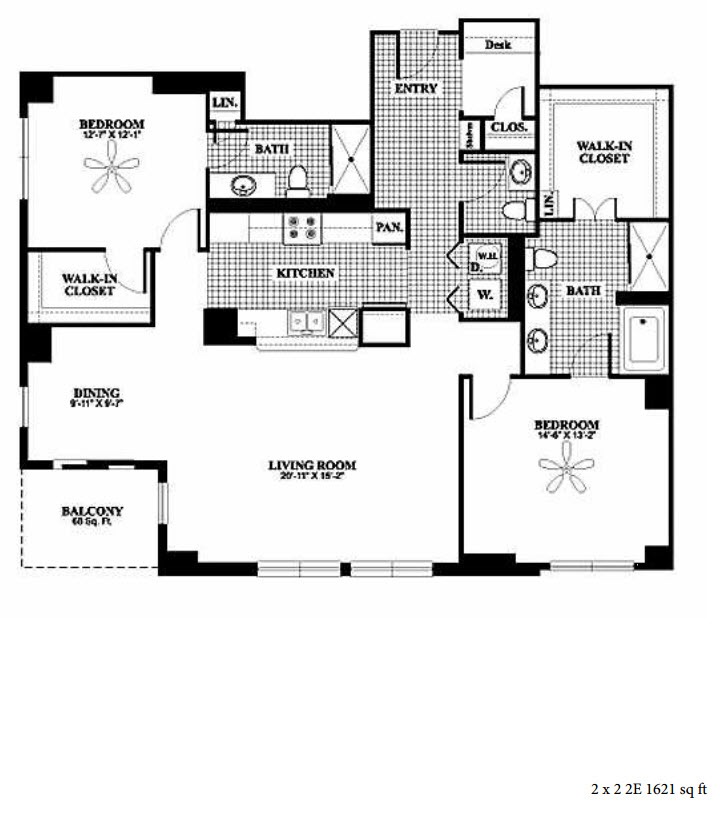 1,621 sq. ft. to 1,628 sq. ft. 2E/2F floor plan