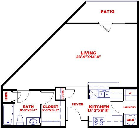 665 sq. ft. to 754 sq. ft. S0A floor plan