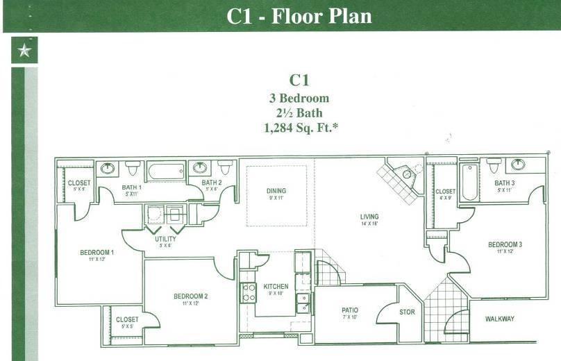 1,284 sq. ft. C1 floor plan