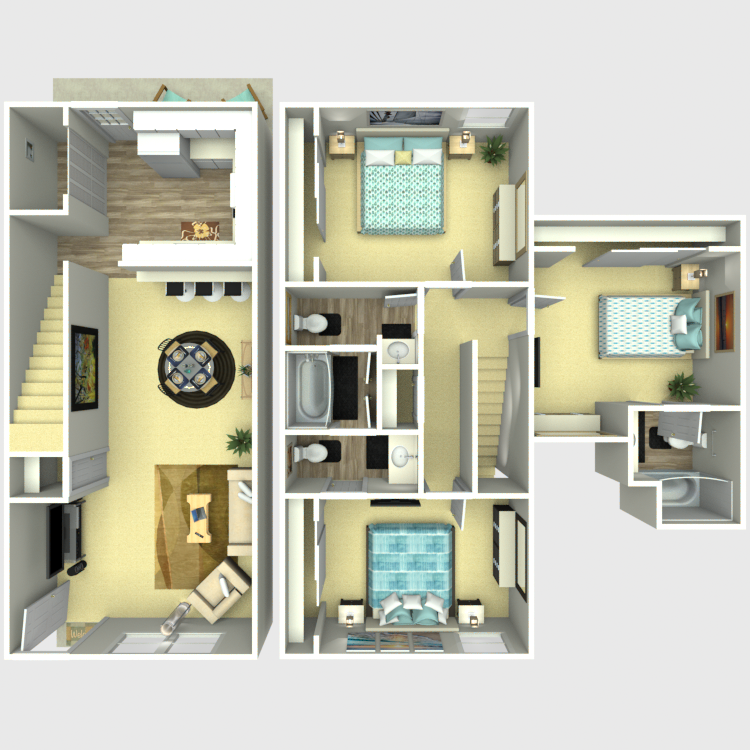 1,217 sq. ft. C1 floor plan