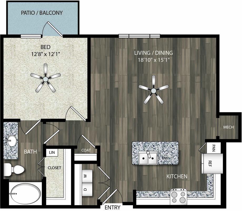 801 sq. ft. A8 floor plan