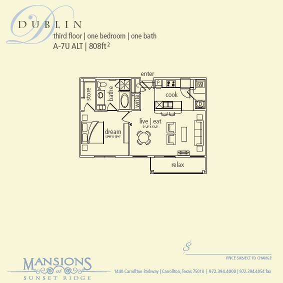 808 sq. ft. Dublin floor plan