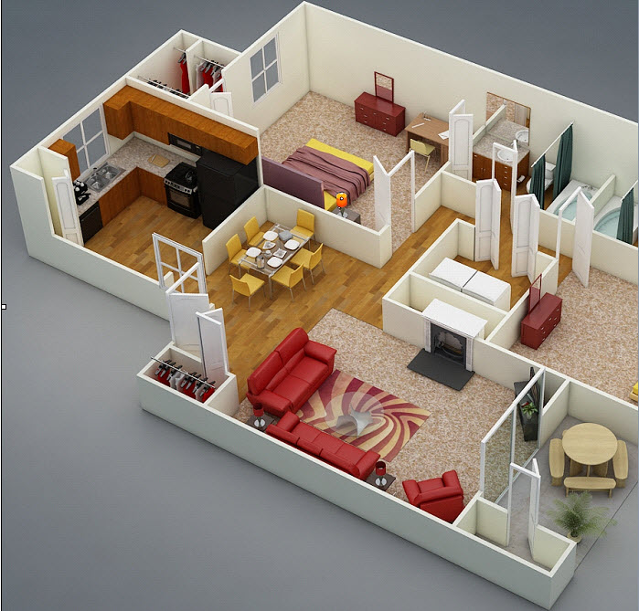 970 sq. ft. D2 floor plan