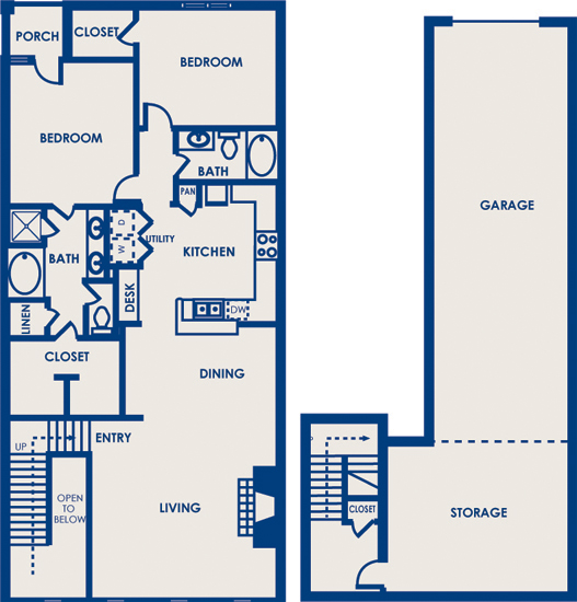 1,626 sq. ft. 22E floor plan