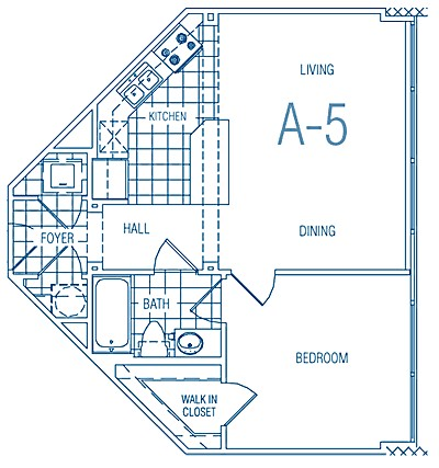 588 sq. ft. A5 30% floor plan