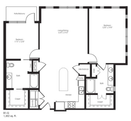 1,352 sq. ft. B1G Ansi floor plan