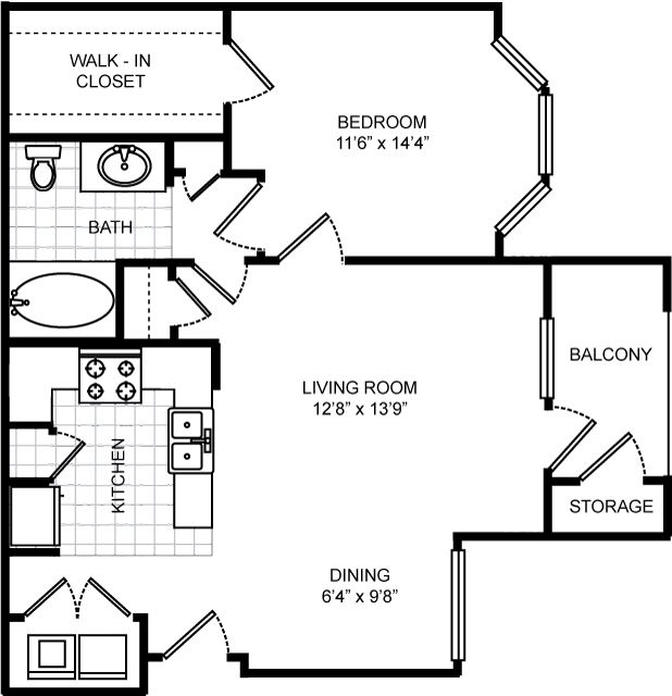 727 sq. ft. Boardwalk floor plan