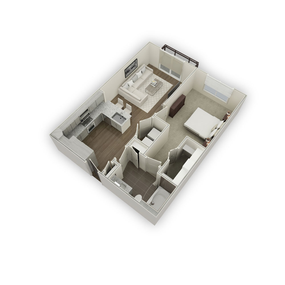 720 sq. ft. A1-2 floor plan